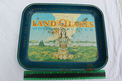 Antique Vintage Land O' Lakes Sweet Cream Butter Tray Famous Scene Maiden Logo