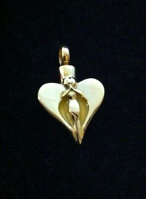 Beautiful Gold Heart Angel Cremation Pendant Urn Ashes keepsake Memorial Funeral