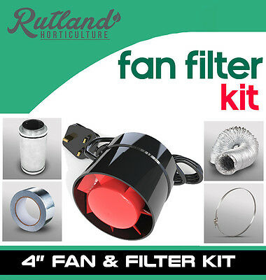 "4"" In Line Fan, Carbon Filter & Duct Kit - Hydroponic Grow Room Tent Ventilation"