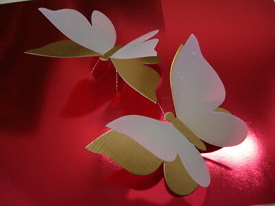 3 3D Butterfly Gold With Spot Vellum Wings