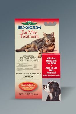 Bio-Groom Ear Mite & Tick Treatment w/ Aloe Dog Cats Puppies Kittens Rabbits 1oz