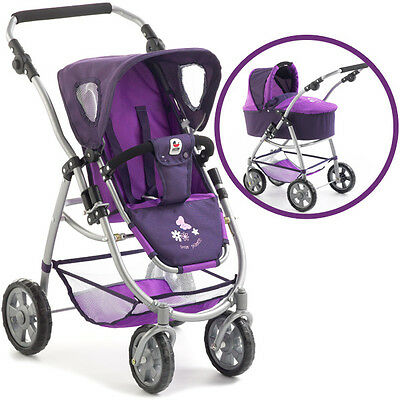 Bayer Chic 2000 Puppenwagen Emotion 2in1 pflaume lila Puppe Kinderwagen Buggy