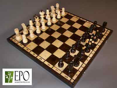 LARGE WOODEN HAND CRAFTED CHESS SET 42cm x 42cm