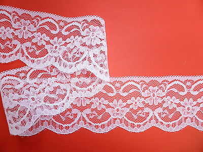 "5 METRES Pretty White Nottingham Lace Trim 2.25""/5.5cm TOP SELLER Trimming"