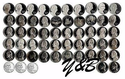 1968 S - 2020 S Jefferson Nickel Proof Run 55 Coins run US Mint Complete set