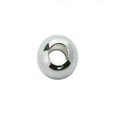 8 MM Sterling Silver Seamless (LARGE HOLE) Round Bright Beads Pkg. Of 10 #2108LS