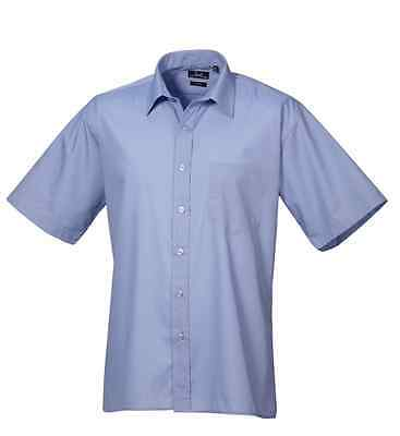 Premier PR202 Mens poplin Short sleeve Plain Work Shirt Corporate Office Wear