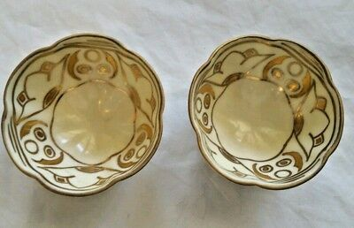 NIPPON CHINA TWO Nut Serving Bowls Hand Painted Cream & Gold Tiny 1 ...