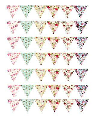 edible cake ribbon decorating icing Bunting Vintage Shabby Chic ND2