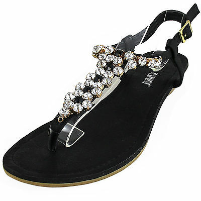 New women's shoes sandals open toe wedge Black t strap rhinestones casual party
