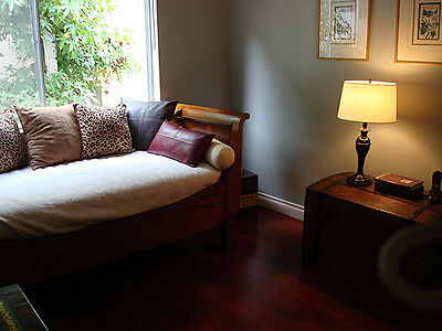 Anttique French Provincial Daybed Solid Walnut & Custom Mattress w/ Bolsters