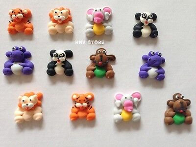 12 x Edible Safari Animal Cake Decoration Mini Cupcake Toppers 6 Animal