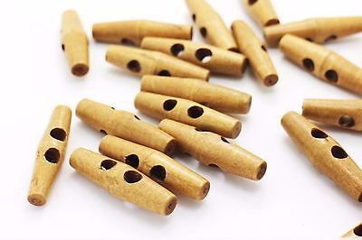 Light Brown Slim Wooden Toggles Button Duffel Duffle Coat Long Button 47mm 10pcs