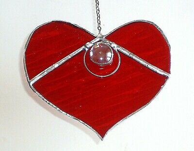 Ruby Red love Heart stained glass suncatcher Anniversary valentines day gift