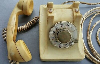 VINTAGE Bell Rotary phone made by Western Electric white