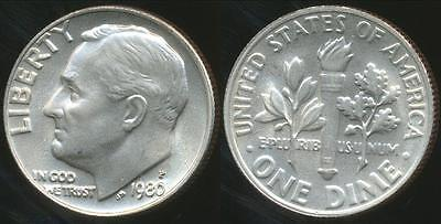United States, 1980-P Dime, Roosevelt - Choice Uncirculated