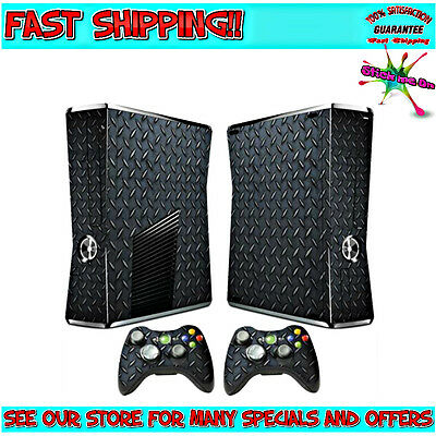 BLACK METAL CHECK PLATE | Sticker Skin Kit for Xbox 360 Slim Console 2 remotes