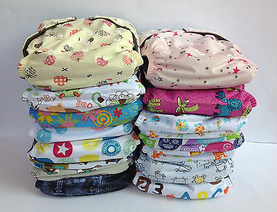 8 Baby Cloth Nappies Charcoal Bamboo Nappy New Reusable One Size Inserts Girl