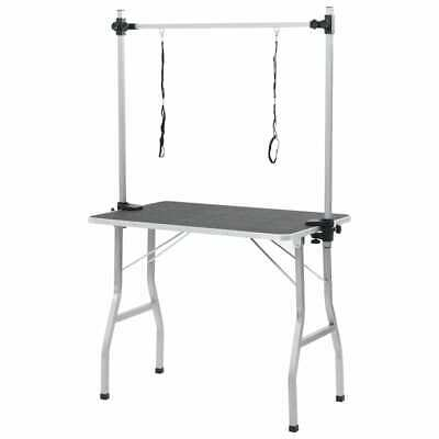B#Bath Grooming Table for Dogs Cats Pets Adjustable 2 Loop Arm Iron Frame