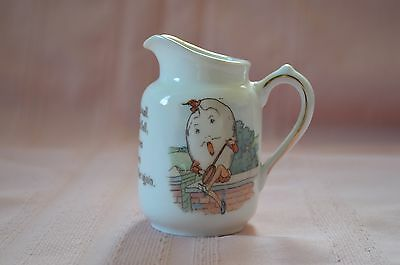 PRETTY LITTLE HUMPTY DUMPTY PORCELAIN CHINA CREAMER MOTHER GOOSE NURSERY RHYME