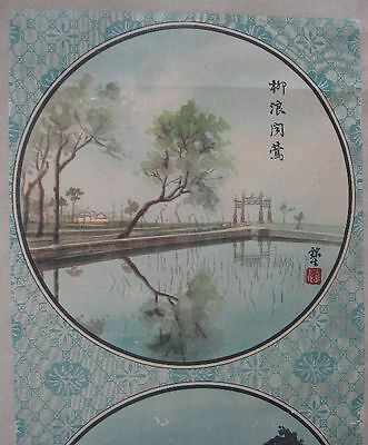 Early 1900's Antique Chinese Colorful Scroll Print With 3 Scenes