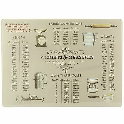 Vintage Weights & Measures Large Glass 40cm x 30cm Worktop Chopping Board Saver