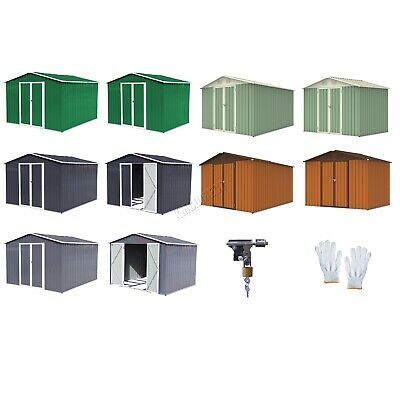 FoxHunter New Garden Shed Metal Apex Roof Outdoor Storage With Free Foundation