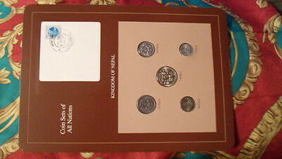 Coin Sets of All Nations Nepal w/ card 1979 - 1986  UNC stamped 4 Nov 87