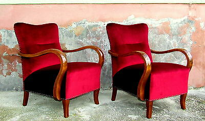 Pair Art Deco Armchairs. Free UK Delivery. 1930s Cocktail Chairs, Club Chairs.