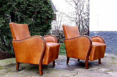 Pair of Art Deco Leather Armchairs, Club Chairs. Genuine 1920s Walnut Vintage.