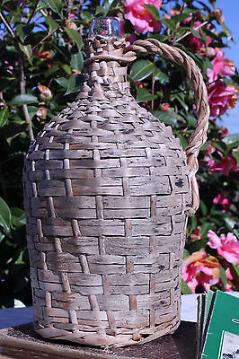 Antique French Demijohn Wicker Wrap Covered Large Glass Wine Bottle Handle
