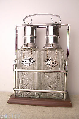 Mid Century Bourbon & Scotch Liquor Decanter Barware Set Walnut Chrome