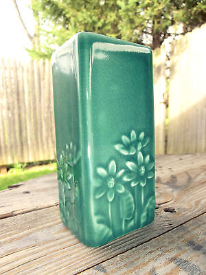 "Rookwood production vase 1952, #6434 Daisy Slab 5.2"" Celadon Green glossy Floral"