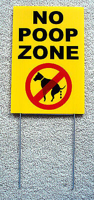 """NO DOG POOP ZONE Vertical 8""""X12"""" Plastic Coroplast Sign with Stake  NEW"""
