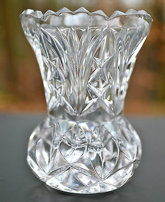 """Beautiful Vintage Clear Pressed Glass Sawtooth Edge Toothpick Holder 3"""" Tall"""