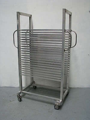Aluminium Mobile Bakery Rack Trolley With Handles - 21 Tray