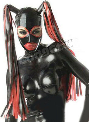 100% Latex Rubber Gummi Mask Hood 0.8mm With Tails Catsuit Bodysuit Suit Costume