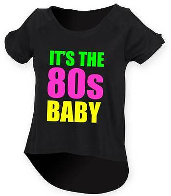 IT'S THE 80s BABY Ladies Drop Tail Top 8-18 Outfit Fancy Dress Costume Neon 80's