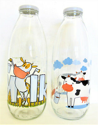 Set Of 2 Glass Decorated Milk Bottles 1L