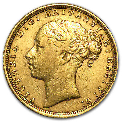 1871-1885 Great Britain Gold Sovereign Young Victoria Avg Circ - SKU #49475
