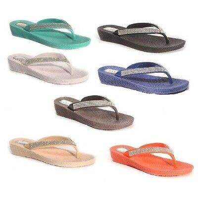 Ladies Women Wedge Toe Post Flip Flop Diamante Sandal, Beach Or Casual Wear S1