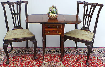 Antique English  Mahogany  Drop Leaf Table on Brass Castor's ca.1890