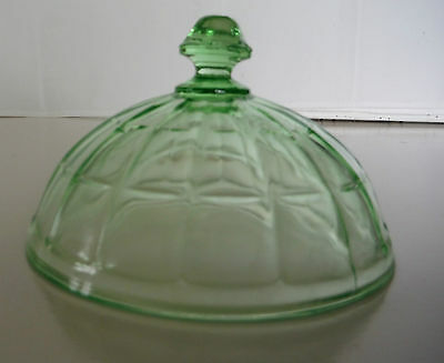 GREEN DEPRESSION GLASS , BUTTER DISH COVER