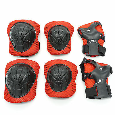 Skateboard Skating Elbow Pads Knee Wrister Spiderman Protective Gear 3-8 Kids