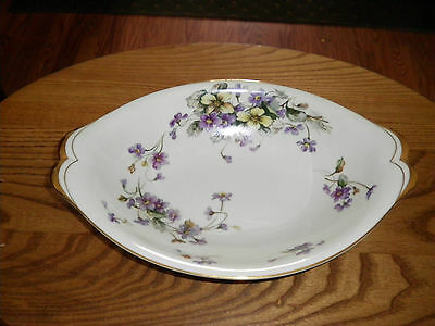 "Meito China Adele Violets Made Japan Porcelain 11"" Oval Vegetable Bowl"