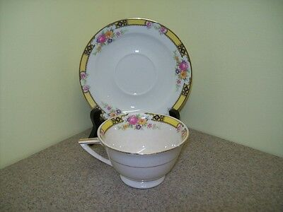 Vintage Edwin M. Knowles China Cup & Saucer Semi Vitreous