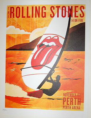 The Rolling Stones - Lithograph Poster - 14 On Fire - 2014 -Perth Arena -