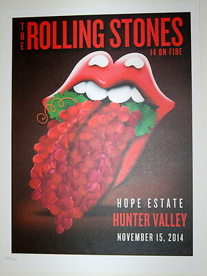 The Rolling Stones - Lithograph Poster - 14  On Fire - 2014 - Hunter Valley