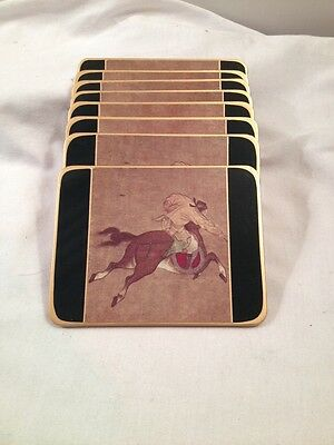 Scully And Scully Coasters Set 8 Horseback Scenes Made In England Vintage