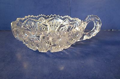 "Sawtooth Pressed Glass 6"" Relish/Candy Dish - Very Good Condition"